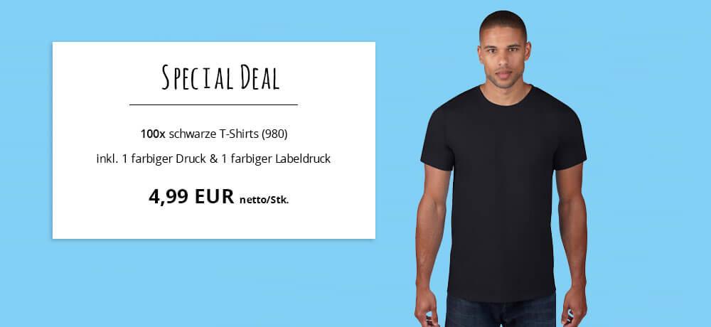 Special Deal schwarze T-Shirts ohne Label zum Gründen