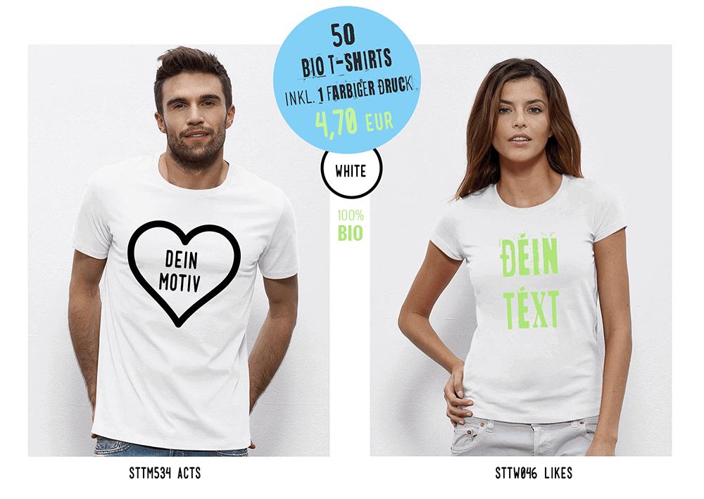 Sonderangebot Weißes Bio T-Shirt bedrucken lassen