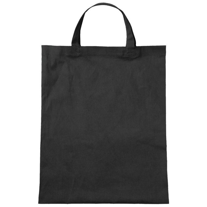 CA07 Jutebeutel Tasche mit kurzen Henkeln aus Bio-Baumwolle in schwarz