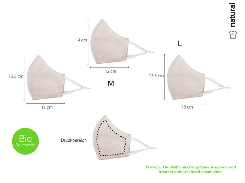 Maske aus Bio-Baumwolle bedrucken - Druckbereich + Hinwweis