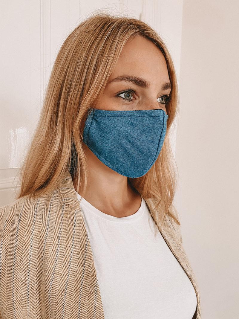 Gesichtsmaske mit Nasenbügel in blau