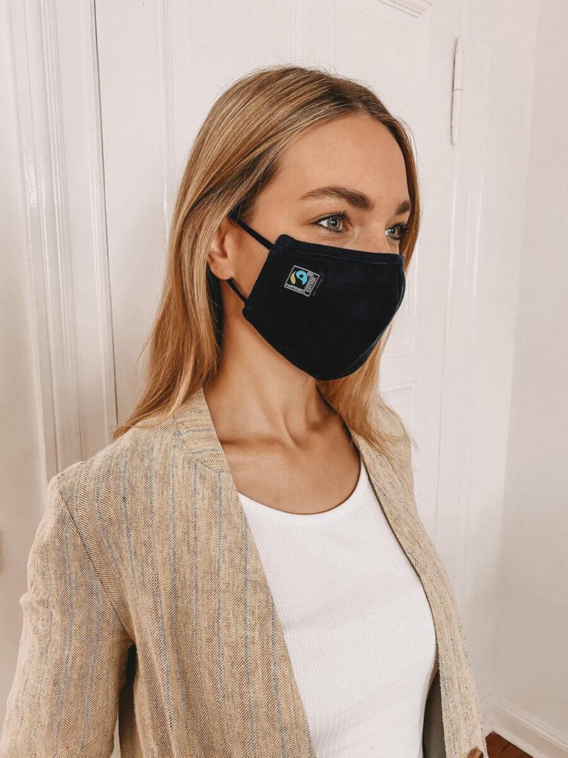 NE93030 Maske aus Fairtrade Baumwolle black